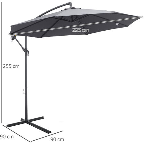 Outsunny 3m Cantilever Banana Parasol Garden Umbrella Sun Shade w/ Base Grey