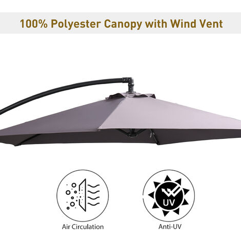 Outsunny 3m Cantilever Banana Parasol Garden Umbrella Sun w/ Base & Cover Grey