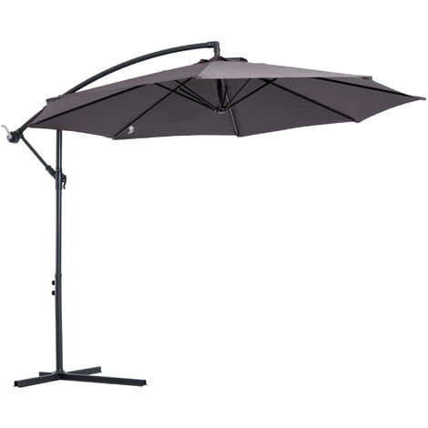 Outsunny 3m Cantilever Banana Parasol Umbrella Garden Patio Hanging Sun Shade Grey