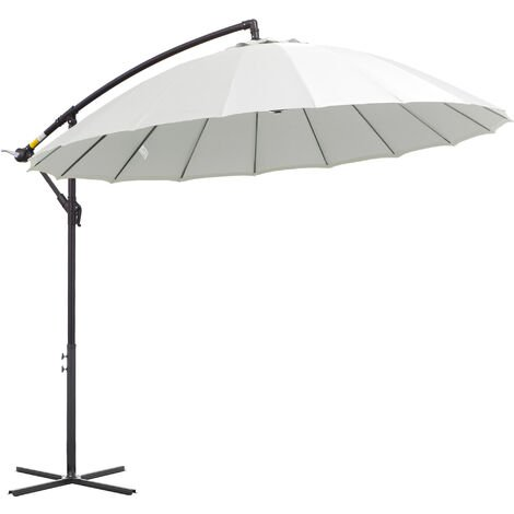 Outsunny 3m Cantilever Overhanging Sun Umbrella Garden Parasol Adjustable Cream