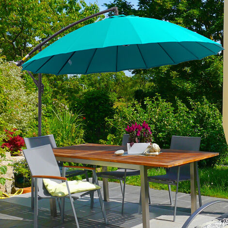 Outsunny 3m Cantilever Overhanging Sun Umbrella Garden Parasol Adjustable Green