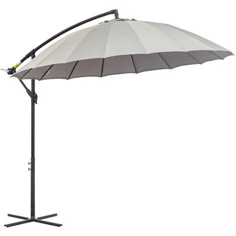 Outsunny 3m Cantilever Overhanging Sun Umbrella Garden Parasol Adjustable Grey