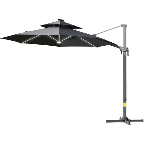 Outsunny 3m Cantilever Parasol Solar Lights Power Bank Base 360° Spin Dark Grey
