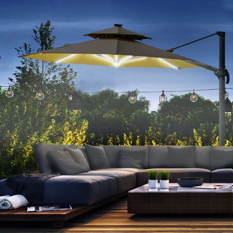 Outsunny 3m Cantilever Parasol Solar Lights Power Bank Base 360° Spin Khaki