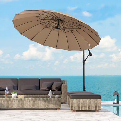 Outsunny 3m Cantilever Sun Umbrella Outdoor Parasol Shade Adjustable Angle Khaki