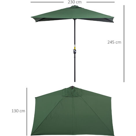 Outsunny 3m Garden Half Round Umbrella Balcony Parasol Shade Protection Green