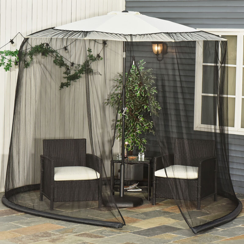 Outsunny 3m Garden Umbrella Parasol Table Mosquito Net Cover