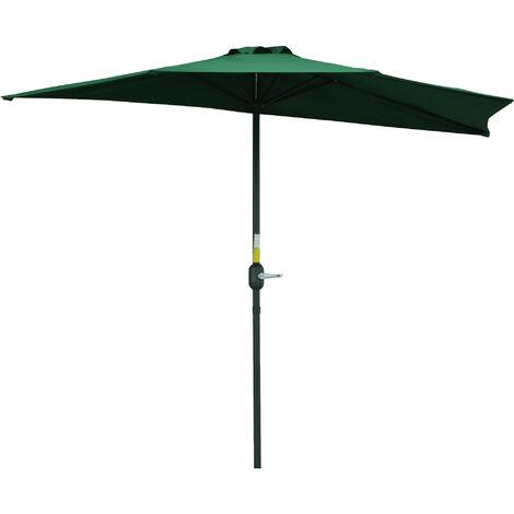 Outsunny 3m Half-Cut Parasol Garden Sun Umbrella w/ Crank Handle Green