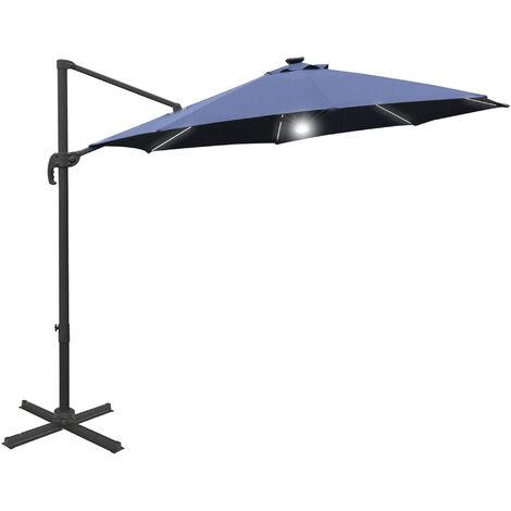 Outsunny 3(m) LED Cantilever Outdoor Sun Umbrella Base Solar Lights Blue