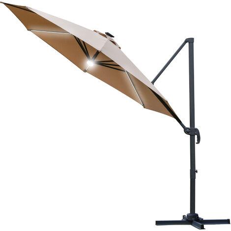 Outsunny 3(m) LED Cantilever Outdoor Sun Umbrella Base Solar Lights Brown