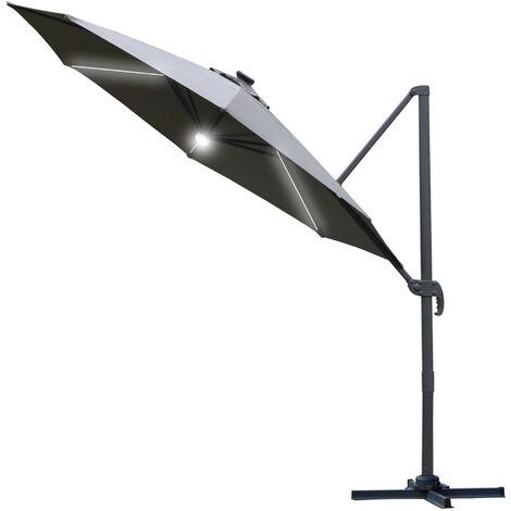Outsunny 3(m) LED Cantilever Outdoor Sun Umbrella Base Solar Lights Grey