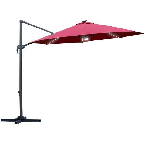 Outsunny 3(m) LED Cantilever Outdoor Sun Umbrella Base Solar Lights Red