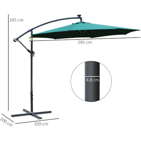 Outsunny 3m LED Patio Banana Umbrella Cantilever Parasol w/ Handle Cross Base