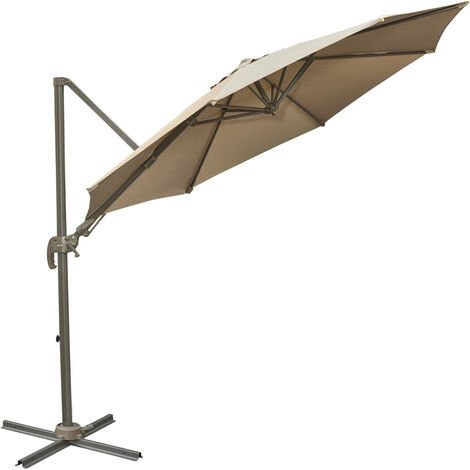 Outsunny 3M Patio Parasol Cantilever Hanging Sun Shade Tilt Crank 360 Degree Rotating