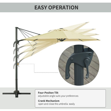 Outsunny 3m Solar Powered LED Light Cantilever Parasol Sun Umbrella w/ Base Beige