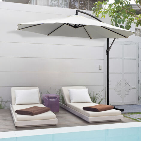 Outsunny 3m Steel Cantilever Umbrella Parasol Sun Shade Patio Hanging Banana