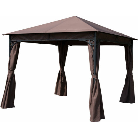 Outsunny 3m x 3m Garden Gazebo Patio Canopy: Black ash frosted & Brown