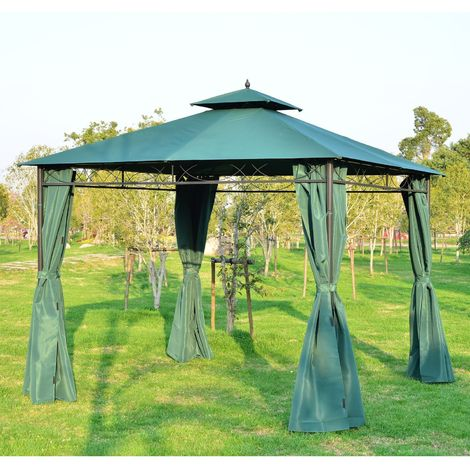 Outsunny 3m x 3m Patio Garden Metal Framed Gazebo Marquee Party Tent Canopy Shelter Pavilion with Sidewalls Dark Green