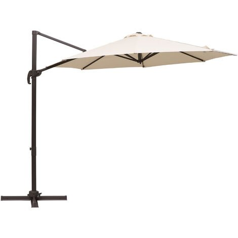 Outsunny 3M x 5M Sun Shade Cantilever Hanging Parasol w/ Hand Crank