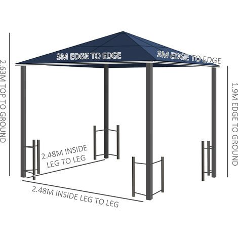 Outsunny 3mx3m Hardtop Gazebo w/ Netting Curtains Aluminium Frame Outdoor Garden