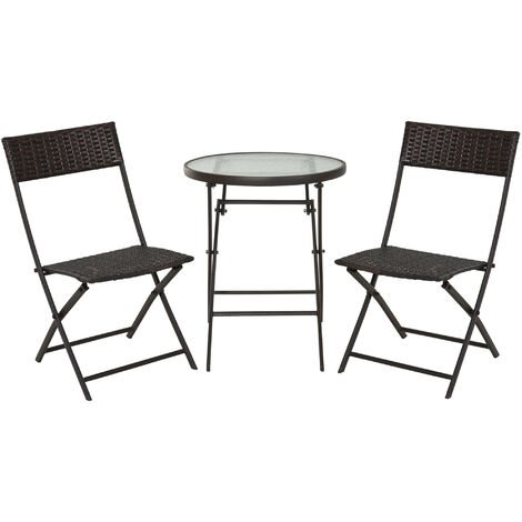 Outsunny 3PC Rattan Bistro Set 2 Folding Chair Coffee Table Garden Furniture - Brown