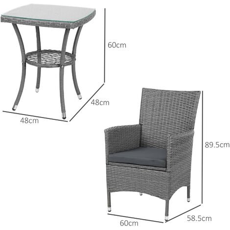 Outsunny 3PC Rattan Bistro Set Furniture Garden Coffee Table Wicker - Grey