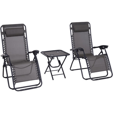 Outsunny 3pcs Sun Lounger Set Reclining Folding Zero Gravity Chair Table