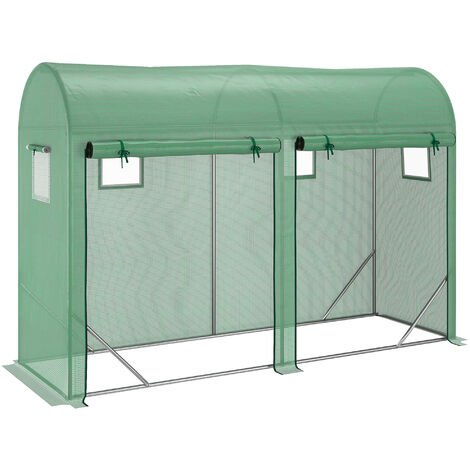 Outsunny 3X10FT Double Door Greenhouse w/ 4 Windows Plant Growing House Outdoor