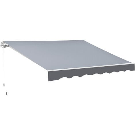 Outsunny 3x2m Manual Outdoor Awning Canopy Sun Shade Shelter w/ Handle Grey