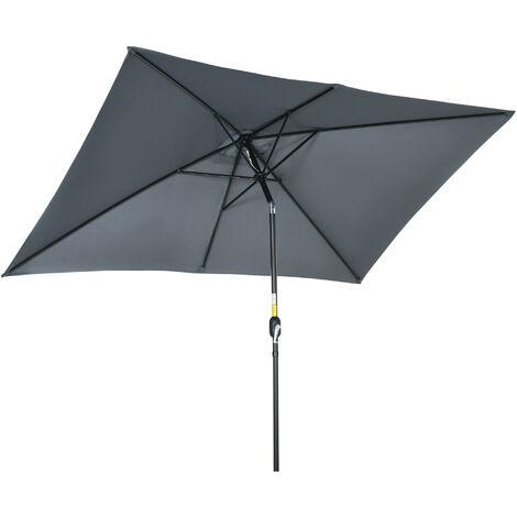 Outsunny 3x2m Patio Umbrella Canopy Tilt Crank Sun Shade Garden Dark Grey