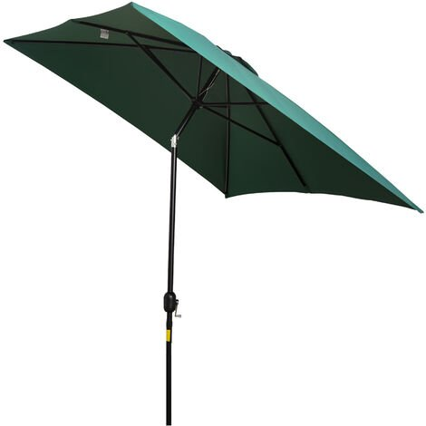 Outsunny 3x2m Patio Umbrella Canopy Tilt Crank Sun Shade Garden Green