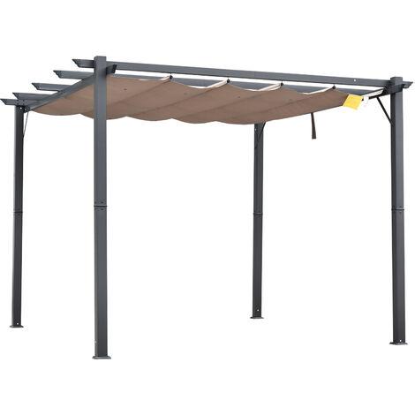 Outsunny 3x3m Aluminium Pergola Gazebo Awning Canopy Sun Shade Shelter - Brown