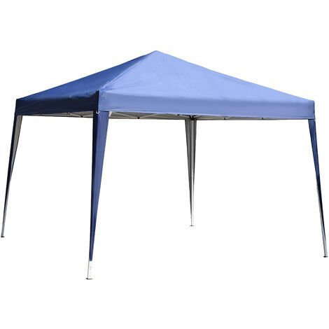 Outsunny 3x3M Garden Heavy Duty Pop Up Gazebo Marquee Party Tent Wedding Canopy (Blue) + Carry Bag