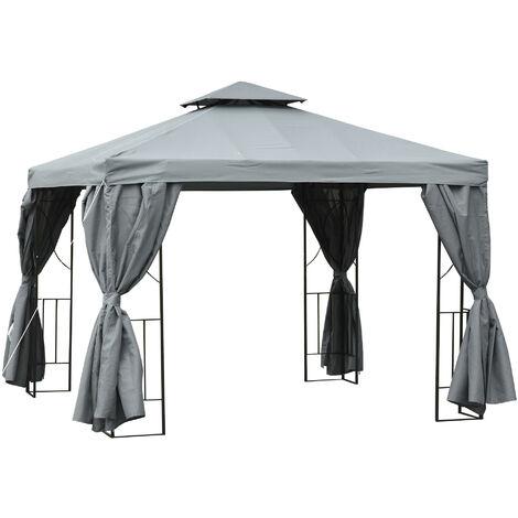 Outsunny 3x3m Garden Metal Gazebo w/ Removable Curtains Outdoor Sun Tent