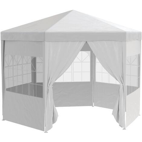 Outsunny 3x3m Hexagon Outdoor Gazebo Party Tent w/ Removable Walls White