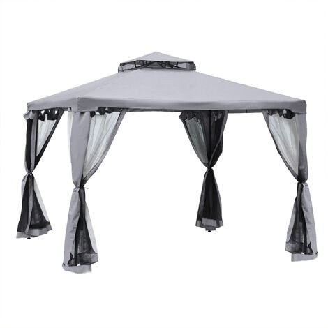 Outsunny 3x3m Outdoor Gazebo Garden Tent w/ 2-Tier Roof Marquee Party Grey