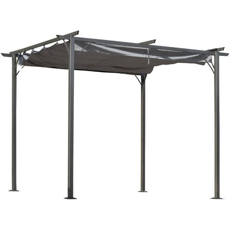 Outsunny 3x3m Outdoor Pergola Metal Gazebo Porch Awning Retractable Canopy