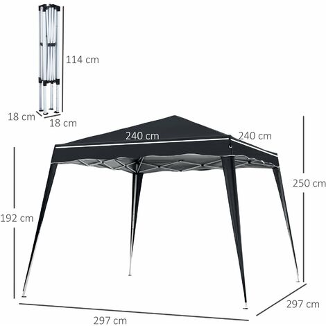 Outsunny 3x3m Pop-up Tent Gazebo Outdoor Awning Marquee Party Shelter Sun Shade - Black