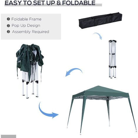 Outsunny 3x3m Pop-up Tent Gazebo Outdoor Awning Marquee Party Shelter Sun Shade - Green
