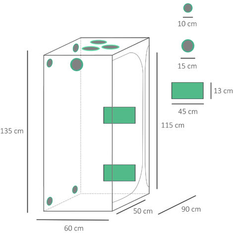 Outsunny 3x4FT Mylar Hydroponic Grow Tent w/ Adjustable Vents Floor Tray