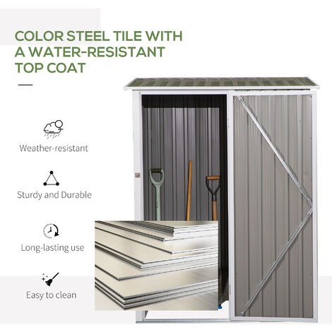 Outsunny 3X5FT Corrugated Garden Metal Storage Shed Outdoor Equipment Tools