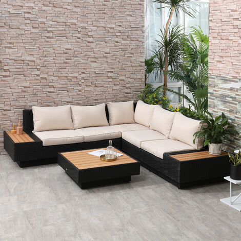 Outsunny 4 Pc Rattan Sofa Set Garden Furniture Table Chairs Loveseat w/ Cushion