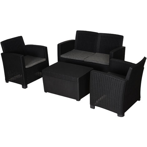 Outsunny 4 PC Rattan Sofa Set PP Wicker w/ 2-Seat Sofa 2 Chairs Table Black