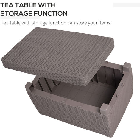 Outsunny 4 PC Rattan Sofa Set PP Wicker w/ 2-Seat Sofa 2 Chairs Table Grey