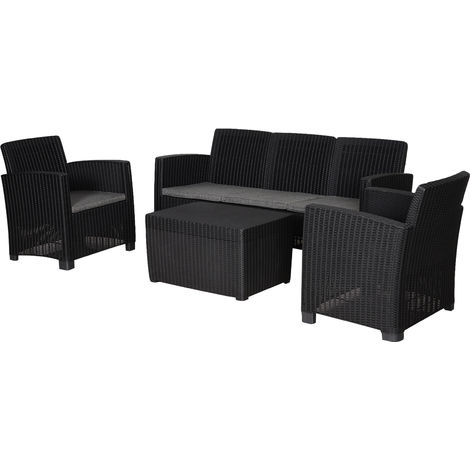Outsunny 4 PC Rattan Sofa Set PP Wicker w/ 3-Seat Sofa 2 Chairs Table Black