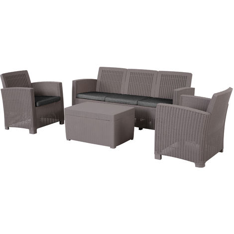 Outsunny 4 PC Rattan Sofa Set PP Wicker w/ 3-Seat Sofa 2 Chairs Table Grey