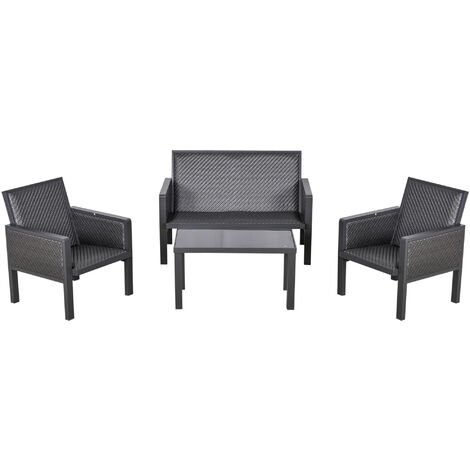 Outsunny 4 Pcs Aluminium Rattan Blend Outdoor Seating Set w/ Sofa Chairs Table