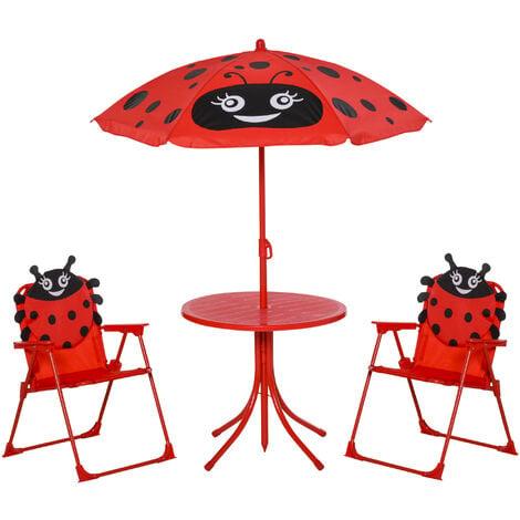 Outsunny 4 Pcs Kids Garden Picnic Table Chair w/ Umbrella Foldable Patio Set Ladybird Children Outdoor Furniture