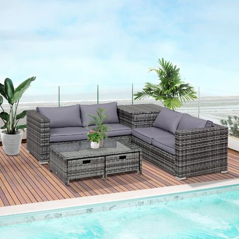 Outsunny 4 pcs Rattan Furniture Sofa Storage Table Set w/ 2 Drawers Table Grey