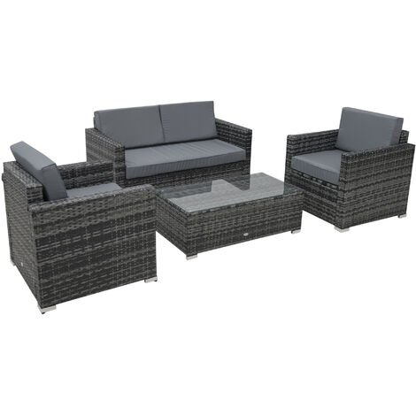 Outsunny 4 Pcs Rattan Sofa Dining Set Outdoor w/ Table Chair Wicker Garden Furniture